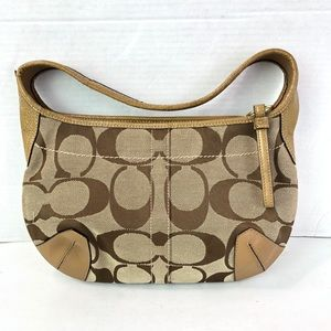 Coach Monogram Fabric Leather small shoulder bag